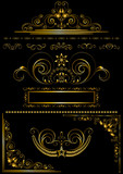 Collection of antique gold frames and calligraphic patterns