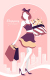 background with fashion girl and shopping bags