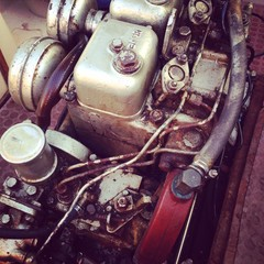 Old diesel boat engine