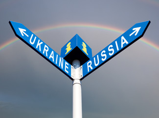 Russia-Ukraine road sign