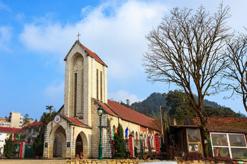 Sapa church under blue sky