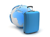 Blue suitcase and earth globe on white background