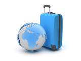 Earth globe and suitcase as travel symbols