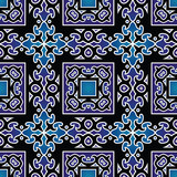 Beautiful seamless blue background with oriental pattern.