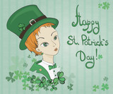 Card for St. Patrick's Day, leprechaun