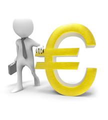 3d Man With Euro Symbol