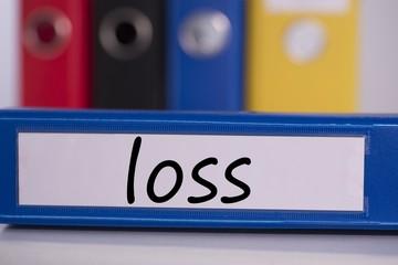 Loss on blue business binder