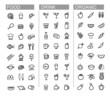vector black beverage, food, kitchen icons set
