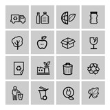 vector black eco icons set