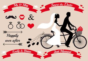 wedding, bride and groom on tandem bicycle, vector set