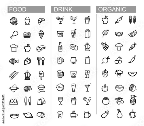 vector black beverage, food, kitchen icons set
