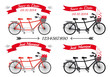 wedding tandem bicycles and ribbons, vector set