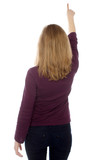 Woman pointing or touching a virtual screen