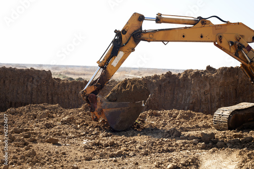 Excavator working on the excavation