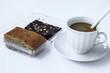 coffee break with cake banana and chocolate brownies