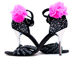 High heel black leather sandals with rhinestones for latin dance