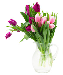 pink   and violet tulips bouquet