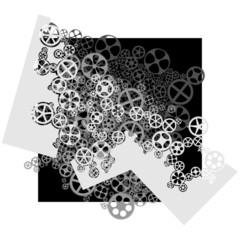 Vector square illustration of gear wheels.