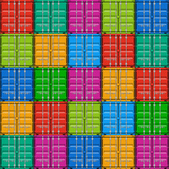 Freight shipping, stacked cargo containers - seamless