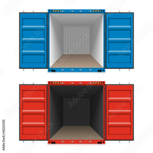 Freight shipping, open cargo containers