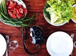 Summer still-life with a camera