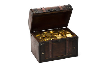 白背景に金貨のはいった宝箱