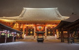 Japan temple , Asakusa Sensoji at snow falling time