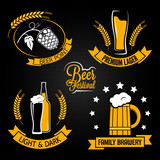 beer glass bottle label set