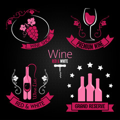 wine glass bottle label set