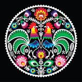 Polish floral embroidery with roosters - traditional folk