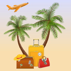 Vector Travel Concept with Palm
