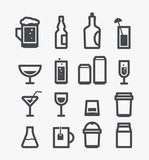 Different drinks icons set. Design elements