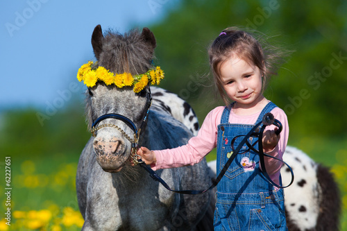 Child and small horse walking in field