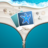 Summer beach with starfish covered by zipper