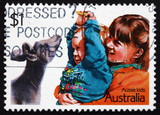 Postage stamp Australia 1987 Playing with a Joey, Children poster