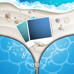 Summer beach with photo frame covered by zipper