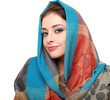 Beautiful makep woman in colorful scarf isolated