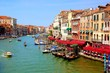 Beautiful Grand Canal of Venice, Italy from Rialto bridge