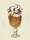 Ice cream with coffee cocktail in glass