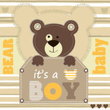 teddy bear invitation card background vector illustration