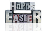 Happy Easter in metal letterpress