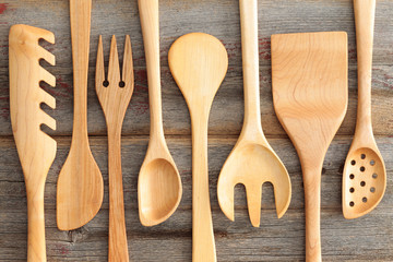 Set of rustic wooden handcrafted kitchen utensils