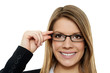 canvas print picture - Geschäftsfrau mit Brille 3