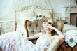 beauty emotional blond bride in luxury interior