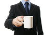 Men in a suit with a cup in hand