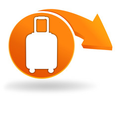 valise sur bouton orange