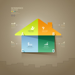 House colorful origami paper cuts Infographics