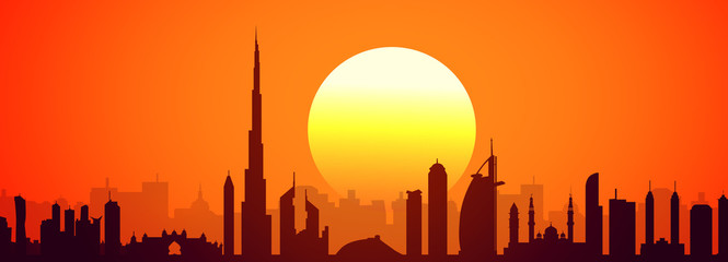 Sunset & Dubai Skyline-Vector
