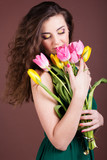 beautiful girl with tulips