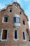 Big ginger house back fachade in Park Guell at Barcelona